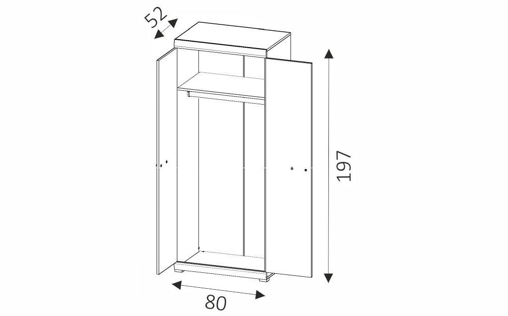 Šatní skříň - ALVARO ASZ80 rozměry