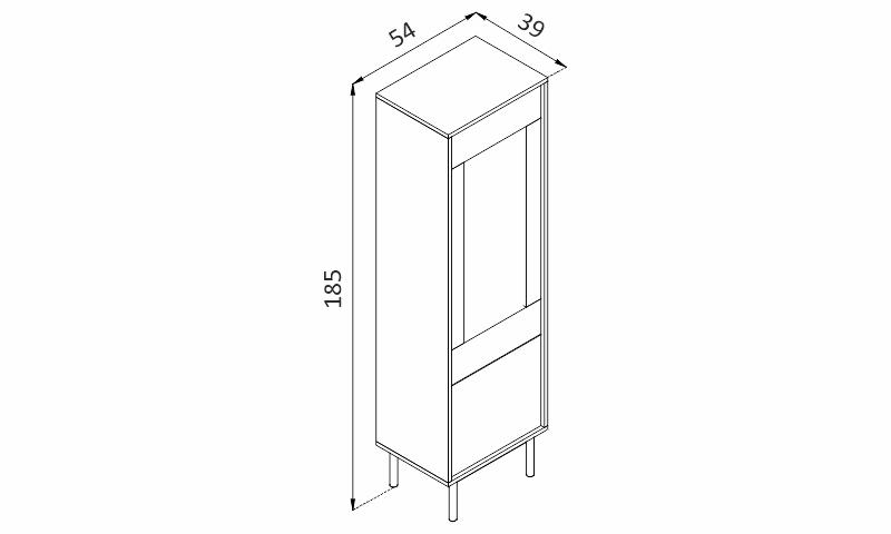 Vitrína - BASIC BWT54 rozměry