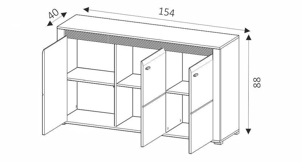 Komoda - CAMPARI CK154 rozměry