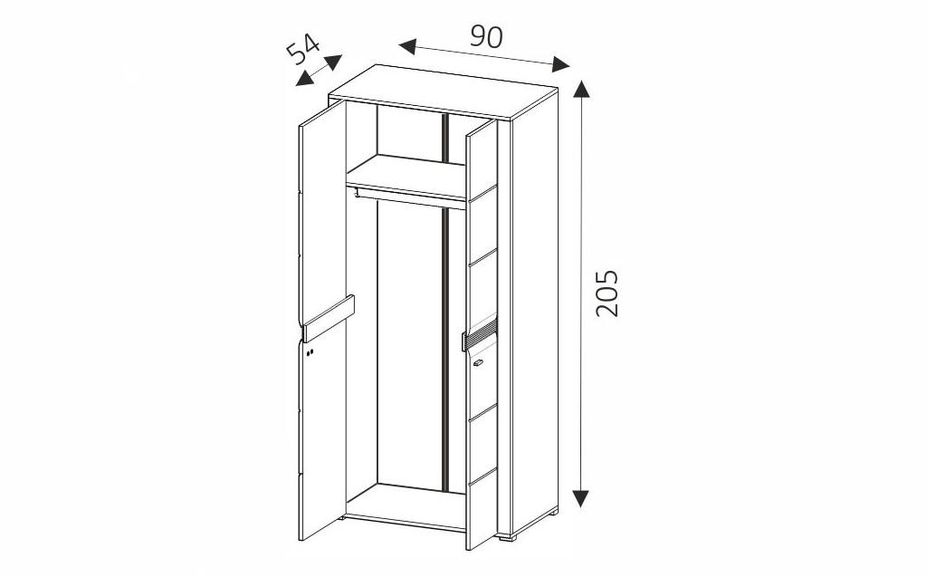 Šatní skříň - CAMPARI CSZ90 rozměry