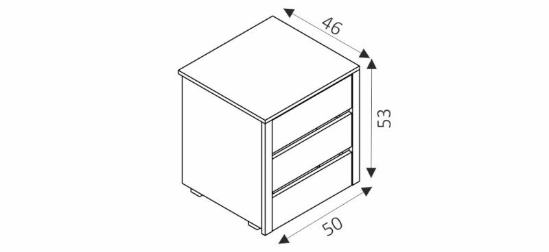 Kontejner do šatní skříně - PK50 rozměry