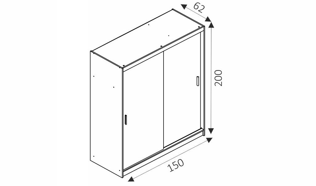 Šatní skříň - MAJA 150/2 rozměry