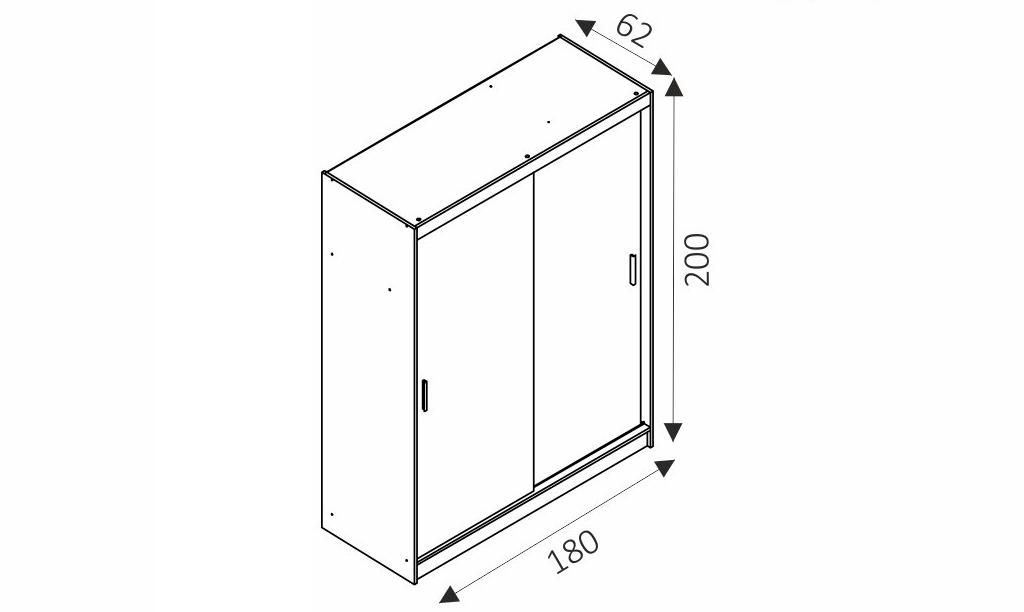 Šatní skříň - MAJA ALU 1/180 rozměry