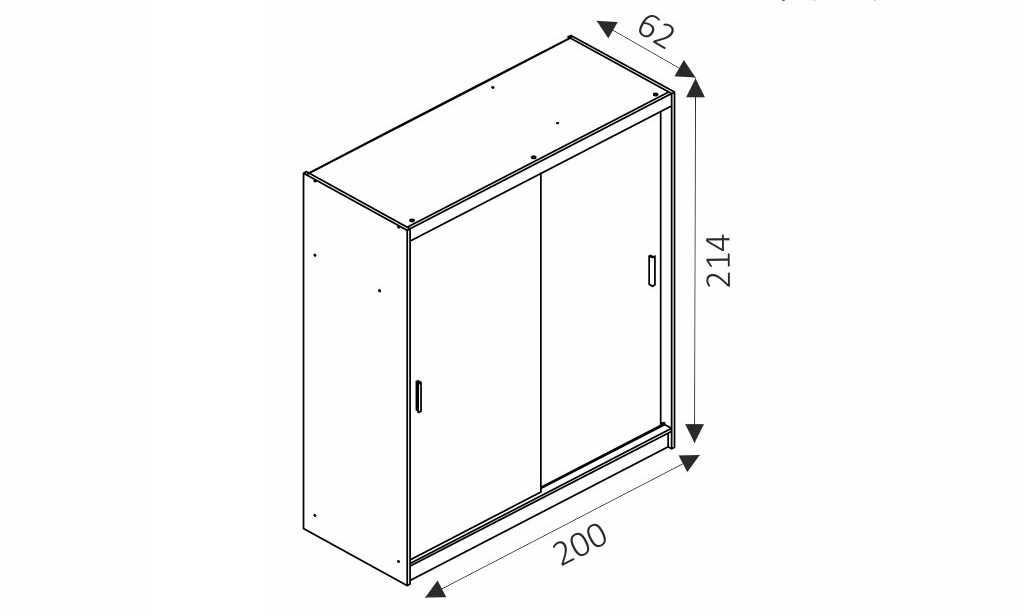 Šatní skříň - MAJA ALU/200 rozměry