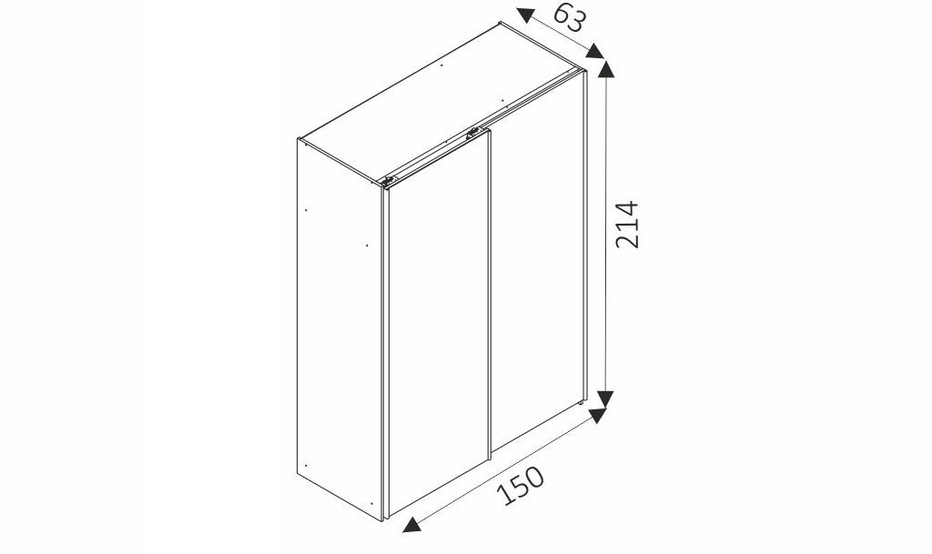 Šatní skříň - MIKA 3/150 rozměry