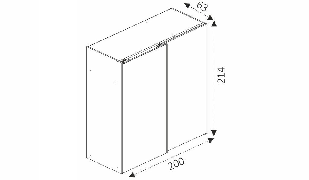 Šatní skříň - MIKA 8/200 rozměry