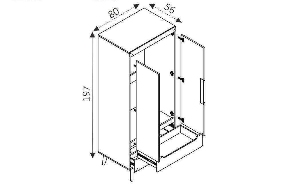 Šatní skříň - NORDI NSZ80 rozměry
