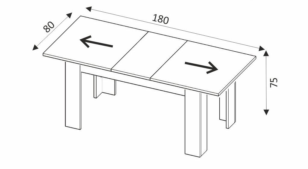 Jídelní stůl rozkládací - SKY SL140 rozměry