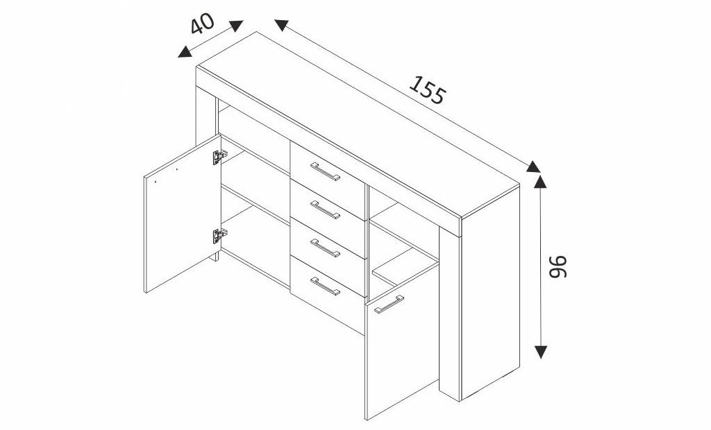 Komoda - SKY SK155 rozměry