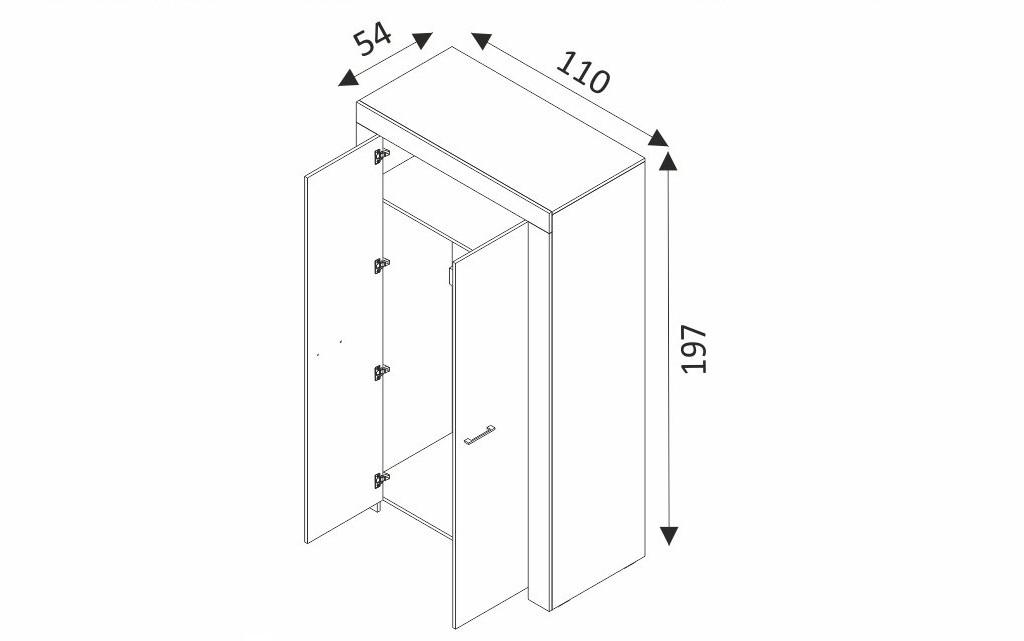 Šatní skříň - SKY SSZ110 rozměry
