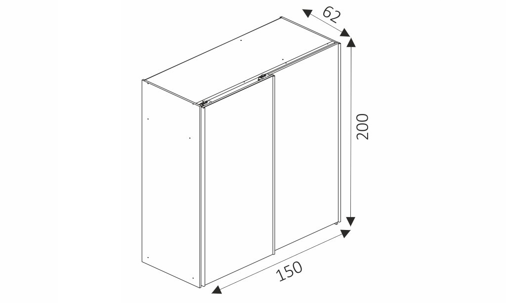 Šatní skříň - WIKI 150 rozměry