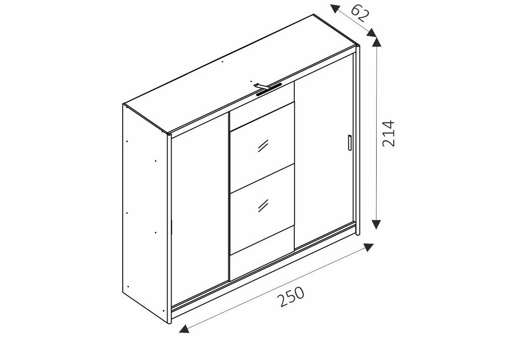 Šatní skříň - WIKI 250 rozměry