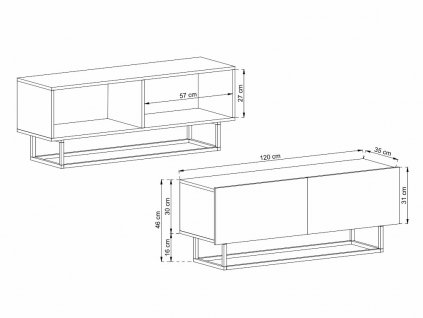 skrinka pod tv enjoy ertv 120 bila