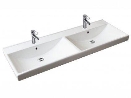 Zápustné umyvadlo - UM.1203/2, 120 cm, dvojité, keramické, bílá