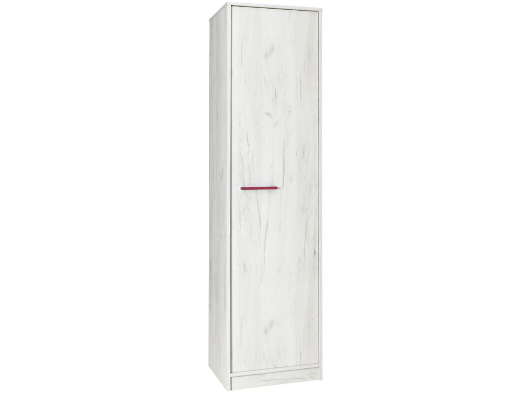 MAXIVA Šatní skříň - REST R01, dub craft bílý Barva úchytky: růžová