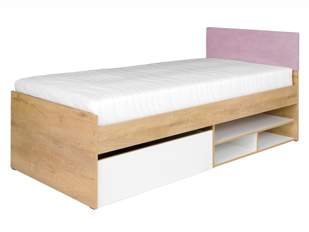 MAXIVA Postel - MIX 7, 90x200 cm, dub lefkas/bílá Barva: růžová