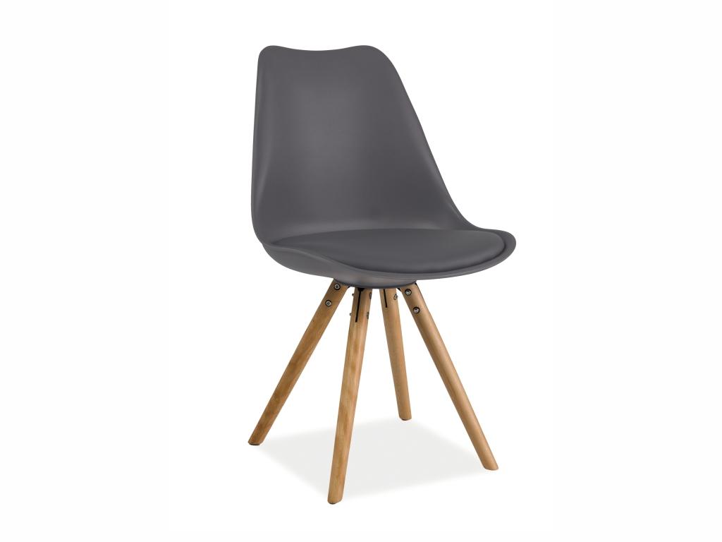 MAXIVA Jídelní židle - ERIC, plast/ekokůže, dřevěné nohy, bílá Sedák: tmavě šedý (plast)