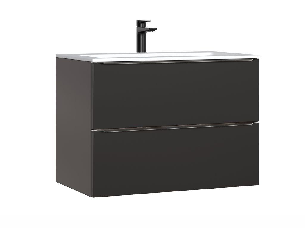MAXIVA Závěsná skříňka pod umyvadlo - CAPRI 821, šířka 80 cm, černá