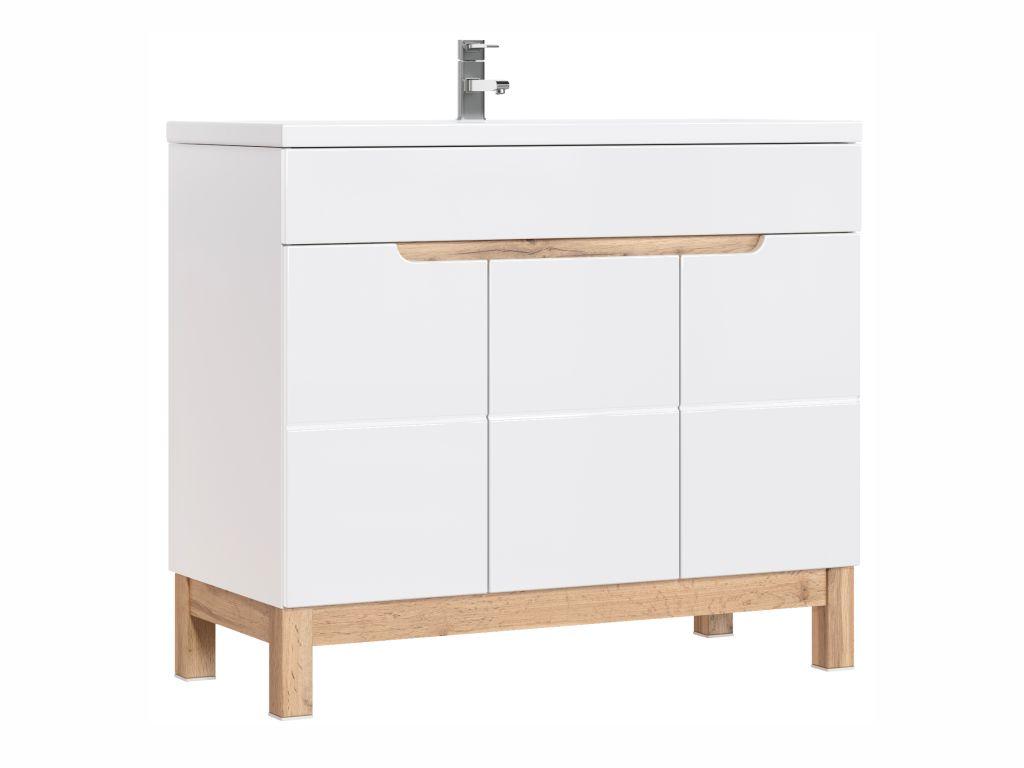 MAXIVA Stojatá skříňka pod umyvadlo - BALI 825 white, šířka 100 cm, bílá/dub votan