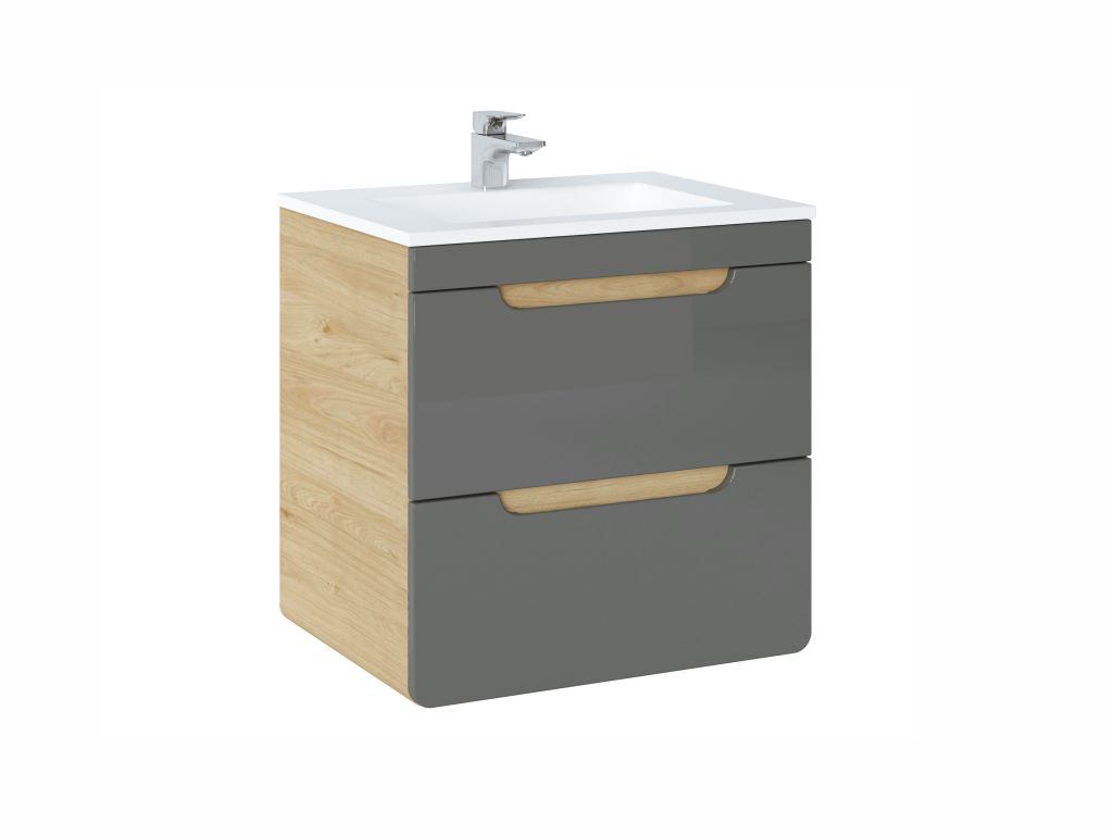 MAXIVA Závěsná skříňka pod umyvadlo - ARUBA 820 agave, šířka 60 cm, jackson hickory/lesklá šedá