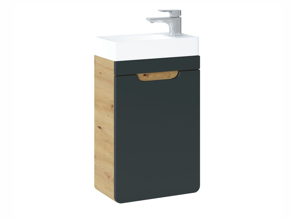 MAXIVA Závěsná skříňka pod umyvadlo - ARUBA 826 cosmos, šířka 40 cm, dub artisan/černá
