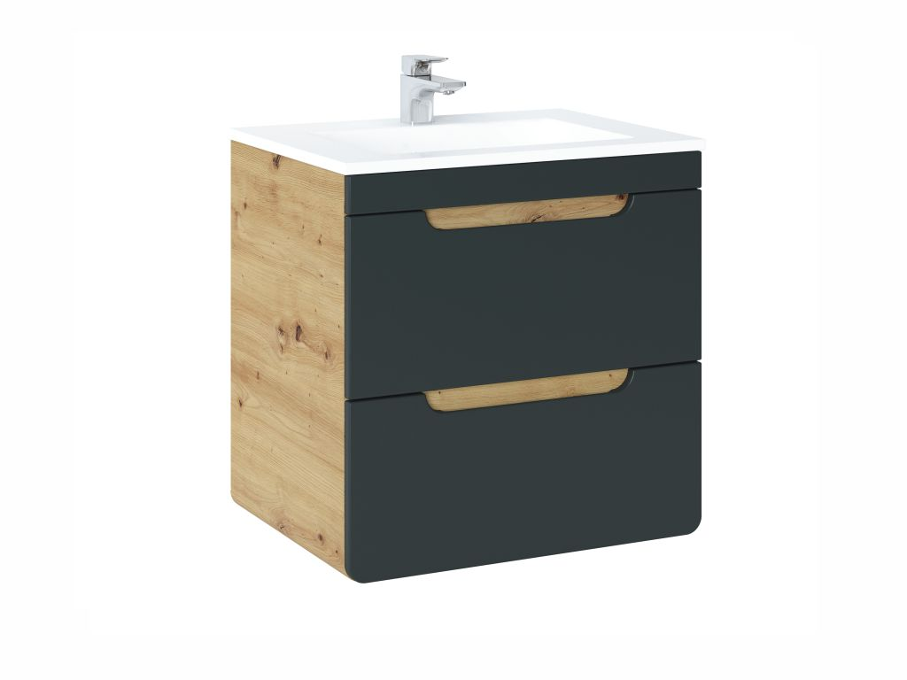 MAXIVA Závěsná skříňka pod umyvadlo - ARUBA 820 cosmos, šířka 60 cm, dub artisan/černá