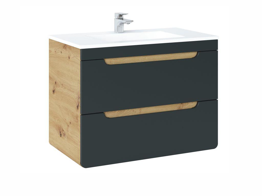 MAXIVA Závěsná skříňka pod umyvadlo - ARUBA 821 cosmos, šířka 80 cm, dub artisan/černá