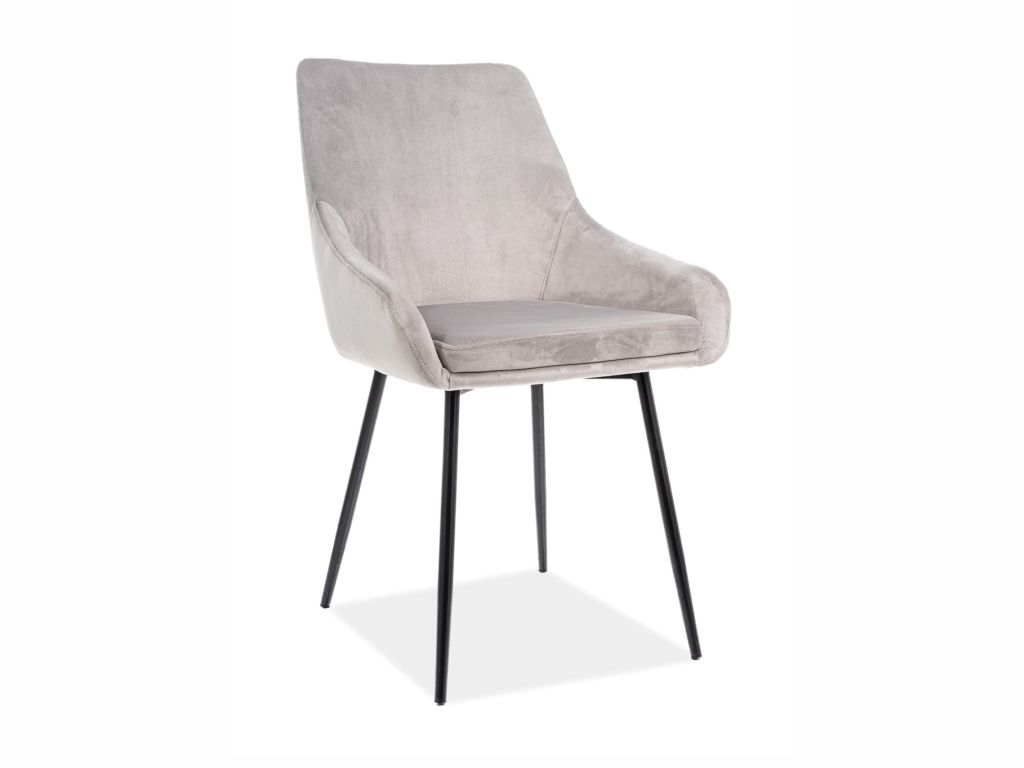 MAXIVA Jídelní židle - ALBI Velvet, nohy v černé barvě, různé barvy na výběr Čalounění: světle šedá (tap.148)