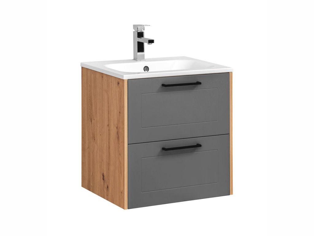 MAXIVA Závěsná skříňka pod umyvadlo - MADERA 820 grey, šířka 60 cm, grafit/dub artisan