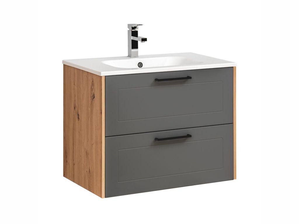 MAXIVA Závěsná skříňka pod umyvadlo - MADERA 821 grey, šířka 80 cm, grafit/dub artisan