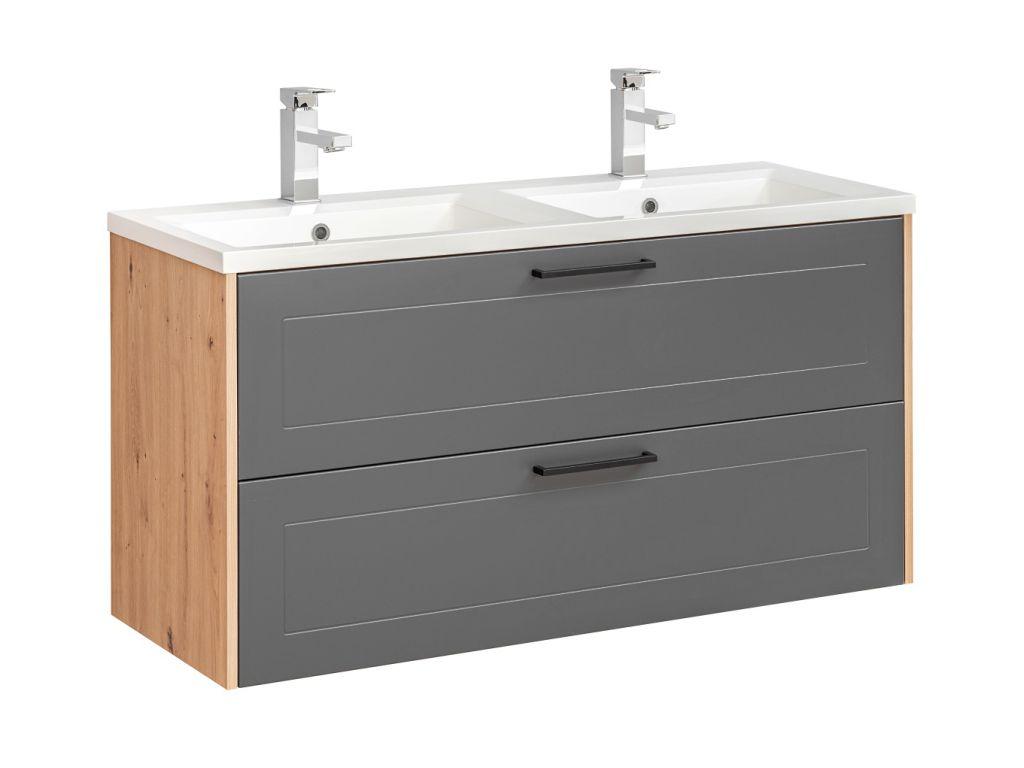 MAXIVA Závěsná skříňka pod umyvadlo - MADERA 854 grey, šířka 120 cm, grafit/dub artisan