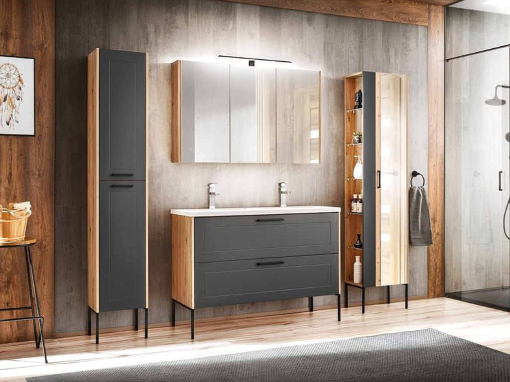 MAXIVA Koupelnová sestava - MADERA grey, 120 cm, sestava č. 2, grafit/dub artisan