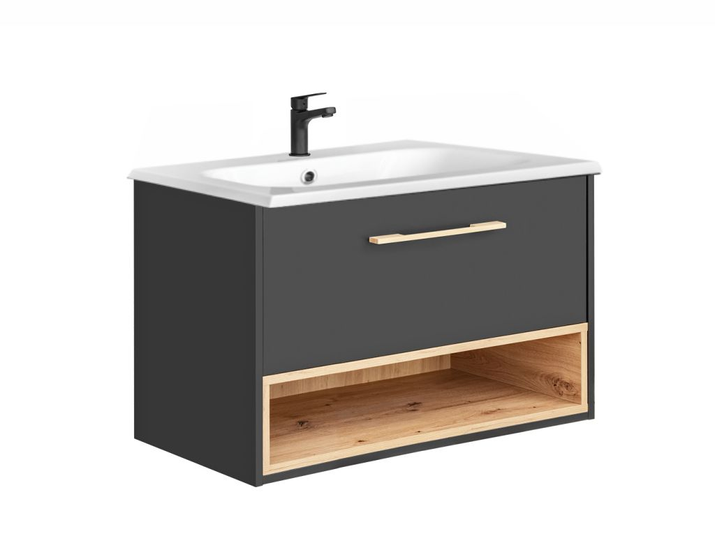 MAXIVA Závěsná skříňka pod umyvadlo - BORNEO 821, šířka 80 cm, grafit/dub artisan