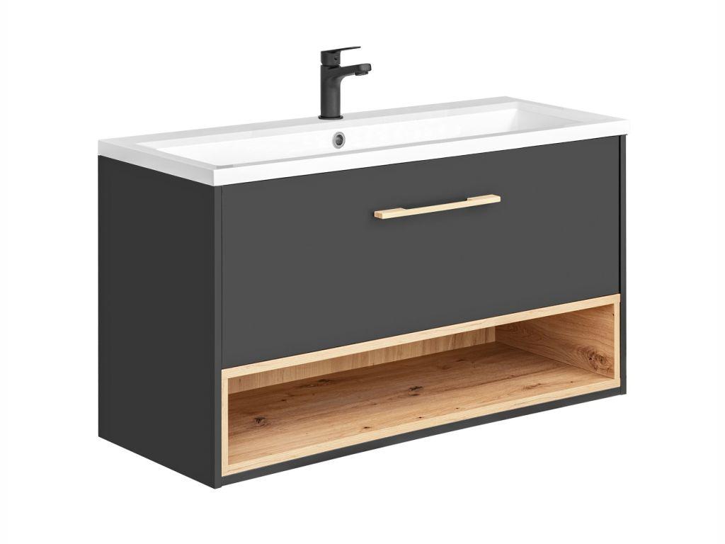 MAXIVA Závěsná skříňka pod umyvadlo - BORNEO 825, šířka 100 cm, grafit/dub artisan