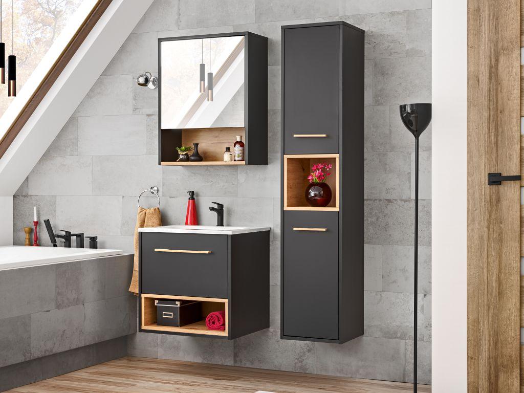 MAXIVA Koupelnová sestava - BORNEO, 60 cm, sestava č. 1, grafit/dub artisan