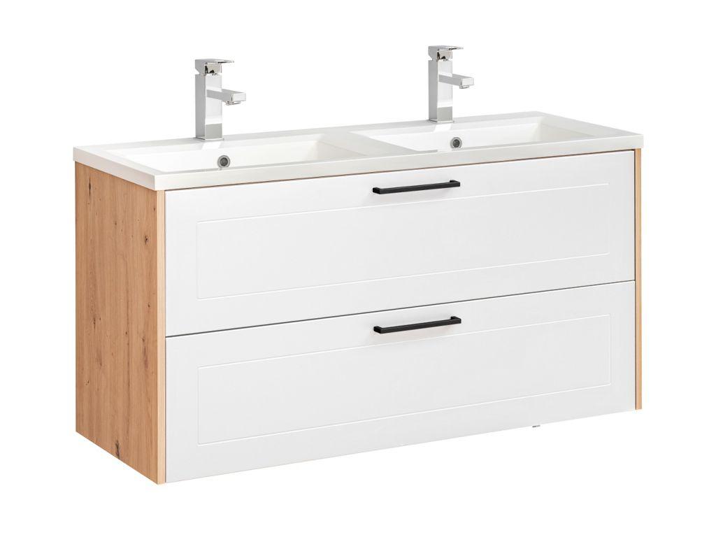 MAXIVA Závěsná skříňka pod umyvadlo - MADERA 854 white, šířka 120 cm, bílá/dub artisan