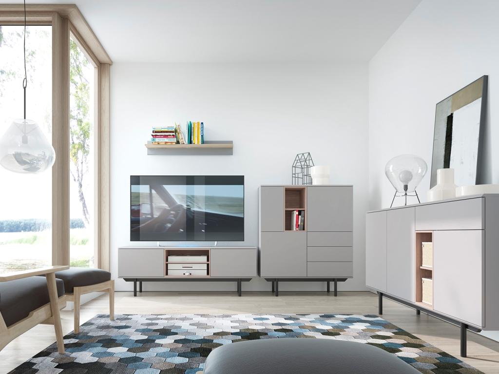 MAXIVA Obývací pokoj INOX, sestava č. 1, šedá/jackson hickory