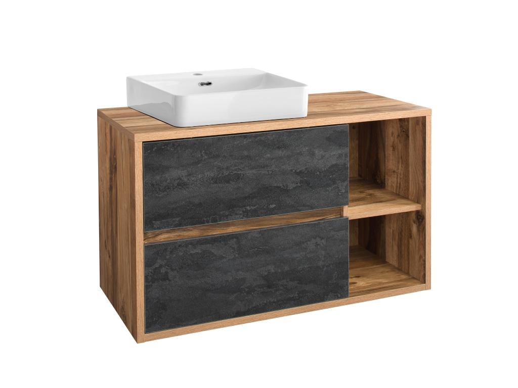 MAXIVA Závěsná skříňka pod umyvadlo - HAMPTON 824, šířka 100 cm, dub Hunton/beton