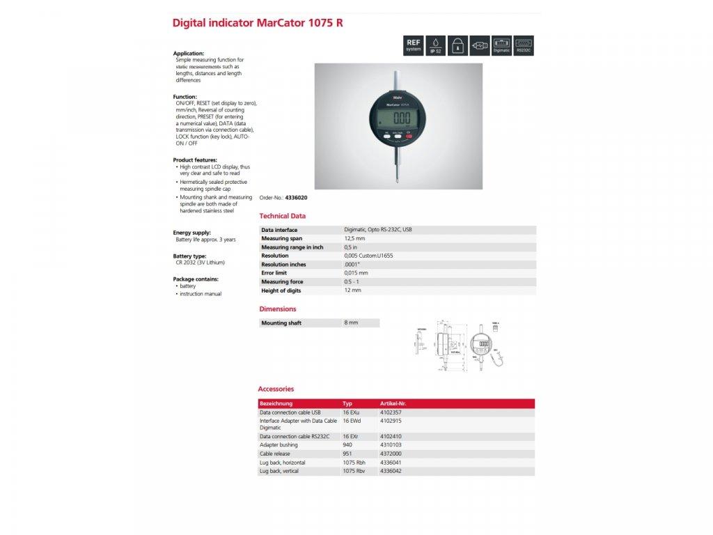 "1075 R D.Indicator 12,5mm/.5"" 0,005mm/.00001"" Mahr"
