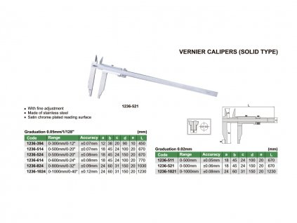 Mechanické posuvné měřítko 500 mm (monolitní) Insize