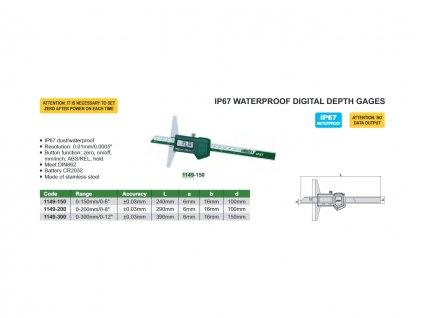 1149 150 Digitální hloubkoměr vodotěsný Insize 150 mm