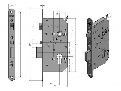ERBI SAM EL 7255 hluboký samozamykací zámek (Model SAM EL 72/55)