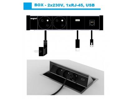 571 magnat box 035 2x230v 1xrj 45 1xusb
