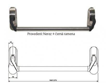 Mechanická paniková  hrazda PBE011 (Barva Nerez+černá ramena)