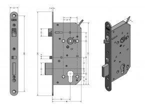ERBI SAM EL 9050 hluboký samozamykací zámek (Model SAM EL 90/50)