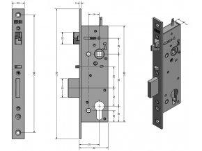 ERBI SAM EL 9235 úzký interiérový samozamykací zámek (TYP SAM EL 9235)