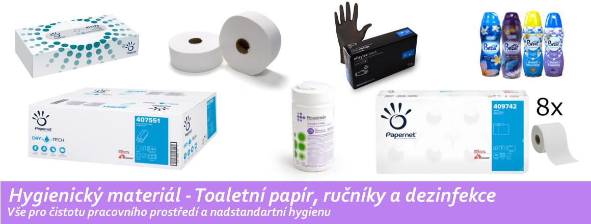 Hygienický materiál  toaletní papír, ručníky a dezinfekce