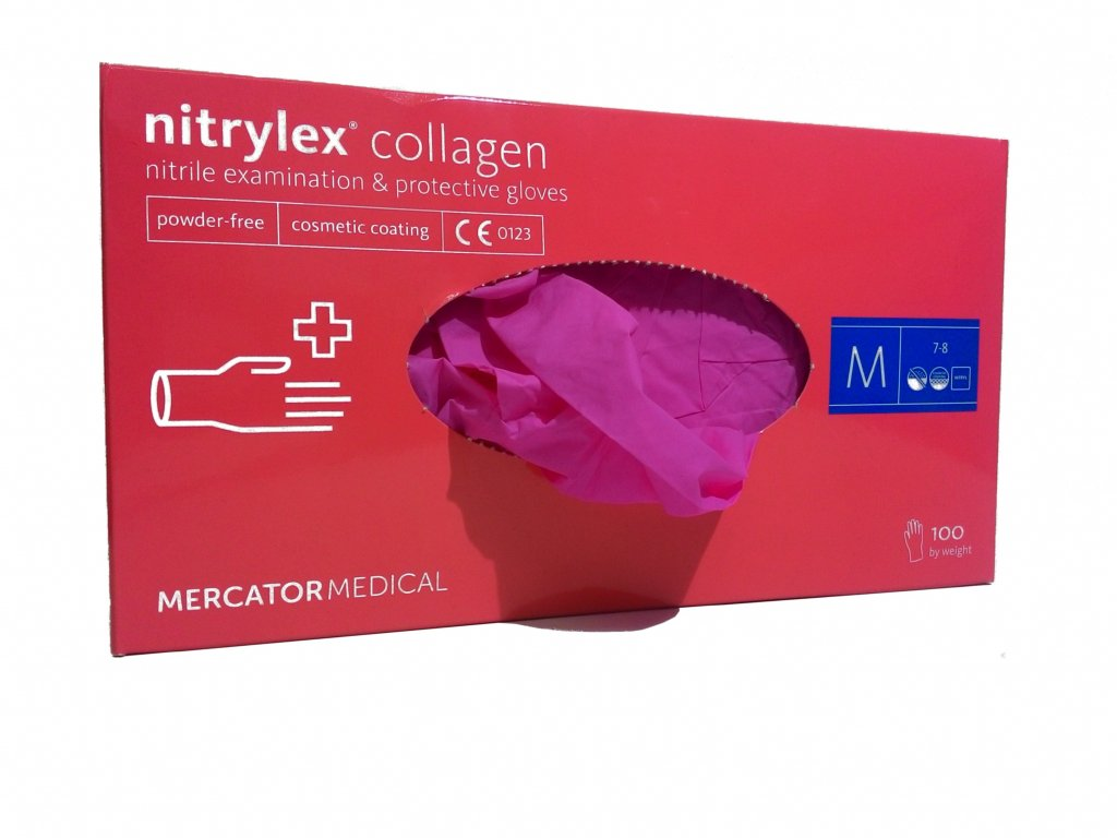 NITRYLEX COLLAGEN - Nitrilové rukavice (bez pudru) růžové a5b1ff518a