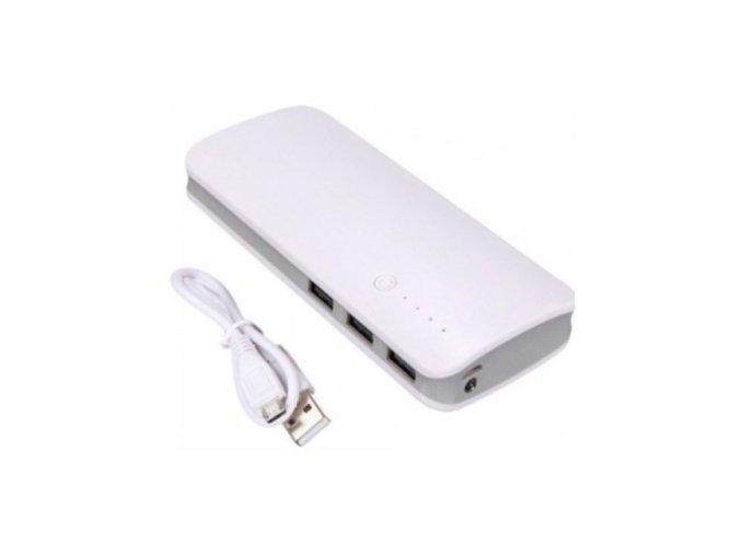 Nabíječka PowerBank 2000mAh + LED baterka, bílá
