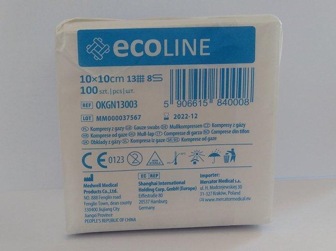 Gázový kompres ECOLINE 10 x 10 cm 13/8, nesterilní – 100 ks